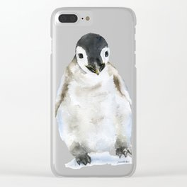 Baby Penguin Watercolor Clear iPhone Case