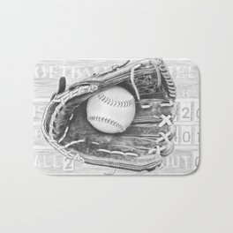 Softball (black and white) Bath Mat