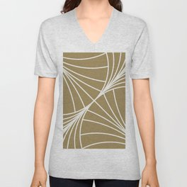 Diamond Series Round Wave White on Gold Unisex V-Neck