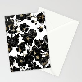 Modern Elegant Black White and Gold Floral Pattern Stationery Cards