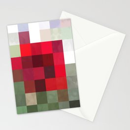 Red Rose Edges Abstract Rectangles 3 Stationery Cards