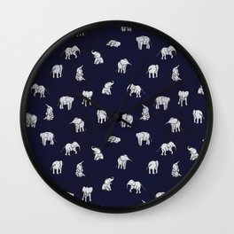 Indian Baby Elephants in Navy Wall Clock
