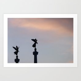 Vittoriano angels at sunset 2 Art Print