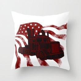 Trucker Flag Street Driver Road Banner Truck Gift Throw Pillow