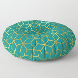 Teal and Gold Squares Floor Pillow