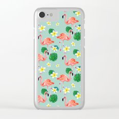 Tropical Flamingo Mood Clear iPhone Case