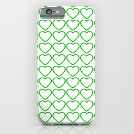 Strict sparkling pattern of green hearts on a light background. iPhone Case