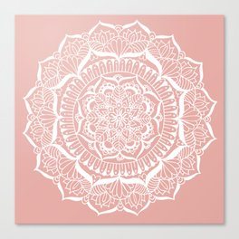 White Flower Mandala on Rose Gold Canvas Print