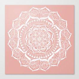 White Flower Mandala on Rose Gold Canvas Print