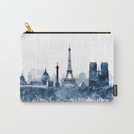 Paris City Skyline Watercolor Blue by zouzounioart Carry-All Pouch