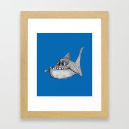 Piranha (mid blue) Framed Art Print