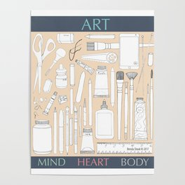 Art Mind Heart Body (cream, gray, multicolor text) Poster