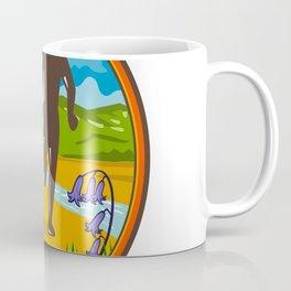 Marathon Runner and Bluebells Oval Retro Coffee Mug