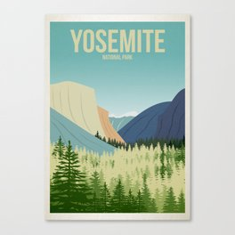 Yosemite National Park - Travel Poster -  Minimalist Art Print Canvas Print