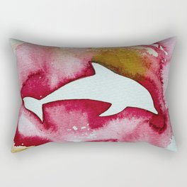 Dolphin in red Rectangular Pillow