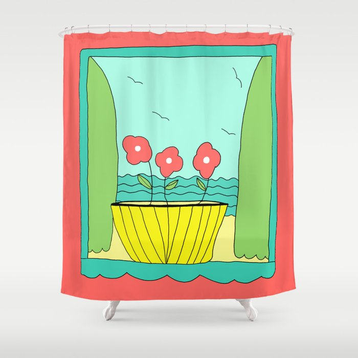 Peaceful Day by the Sea Art Print by Emma Freeman Designs Shower Curtain