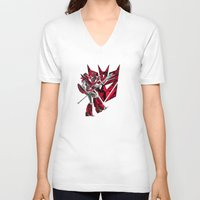 transformers V-neck T-shirts featuring Transformers Air Guitar'n Con by Laserbot