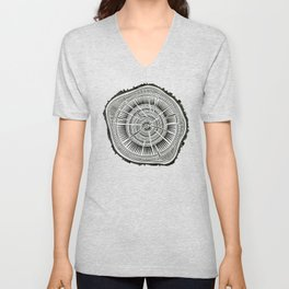 Paper Birch – Black Tree Rings Unisex V-Neck