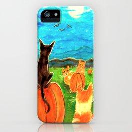 Seven Cats in Pumpkin Patch iPhone Case