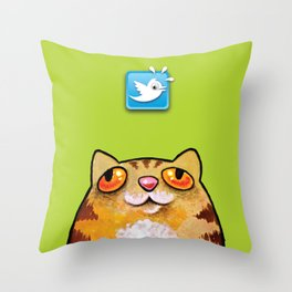 Cat love twitter bir green Throw Pillow