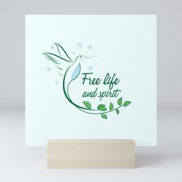 Hummingbird Free Life Quote Mini Art Print