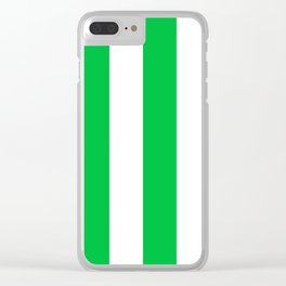 Wide Vertical Stripes - White and Dark Pastel Green Clear iPhone Case