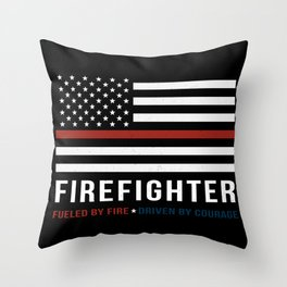 Fueled By Fire (Thin Red Line) Throw Pillow