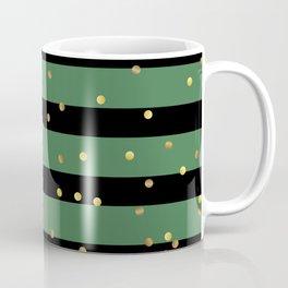 Christmas Golden confetti on Black and Green Stripes Coffee Mug