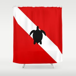 Diving Flag: Sea Turtle Shower Curtain