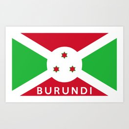 Burundi country flag name text Art Print