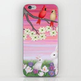 cardinals, dogwood blossoms, bunnies, & crocuses iPhone Skin