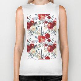 Botanical red ivory teal watercolor roses floral Biker Tank
