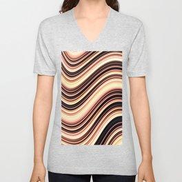 Wavy Brown Stripes Unisex V-Neck