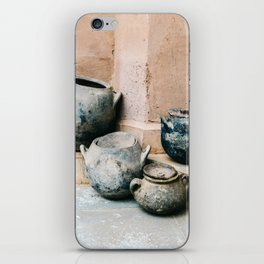 Pottery in earth tones | Ourika Marrakech Morocco | Still life photography iPhone Skin