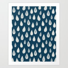 Raindrops Pattern - White on Navy Blue Art Print