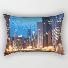 Chicago Night on Lasalle Street Rectangular Pillow