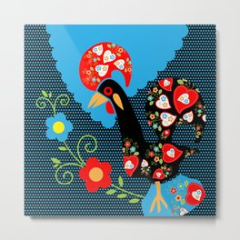 Portuguese Rooster with blue dots on black background  Metal Print