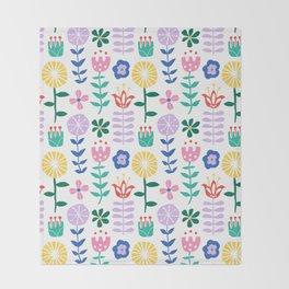Scandinavian Vine Floral Throw Blanket