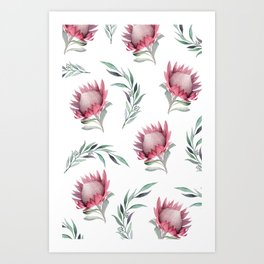 Protea and Gum Leaves Art Print