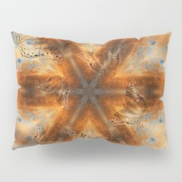 Surreal butterflies on corrugated iron mandala Pillow Sham