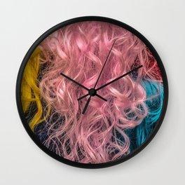 Rainbow female hair Wall Clock