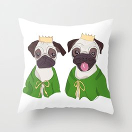 Royal Pug Twins Throw Pillow