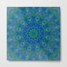 Bluegreen therapy art - Serenity mandala Metal Print
