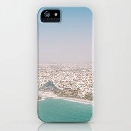 Burj Al Arab and Burj Khalifa from Dubai skies   Travel photography art print photo iPhone Case