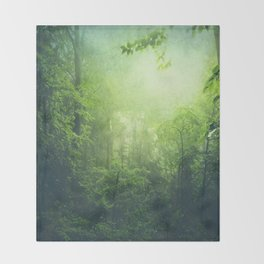 Lush Green Forest Throw Blanket
