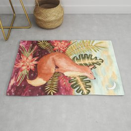 Tropical Fox Watercolor Rug