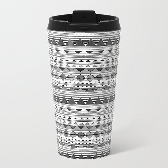 Aztec Black & White Metal Travel Mug