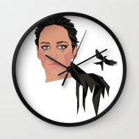 jennifer lawrence Wall Clocks featuring jennifer lawrence by Karen Rós