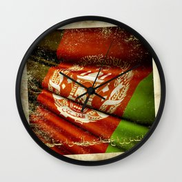 Grunge sticker of Afghanistan flag Wall Clock