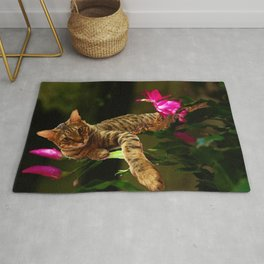 Bengal Cat Resting on Flowers Rug